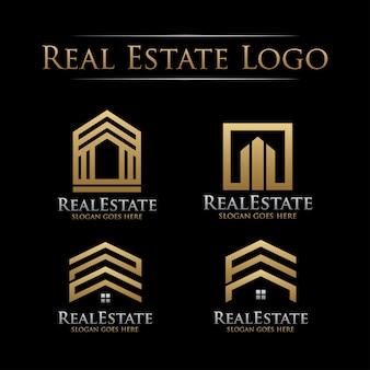 Conjunto de logotipo imobiliário dourado