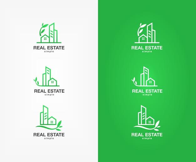 Conjunto de logotipo imobiliário verde