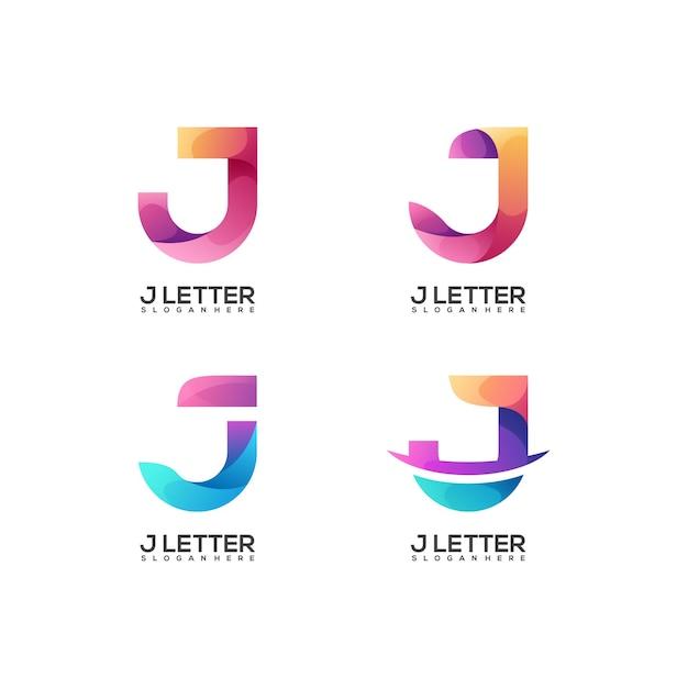 Conjunto de logotipo incrível com gradiente colorido da letra j
