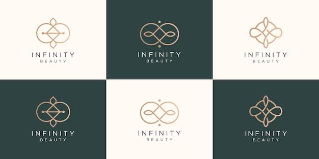 Conjunto de logotipo infinito e beleza