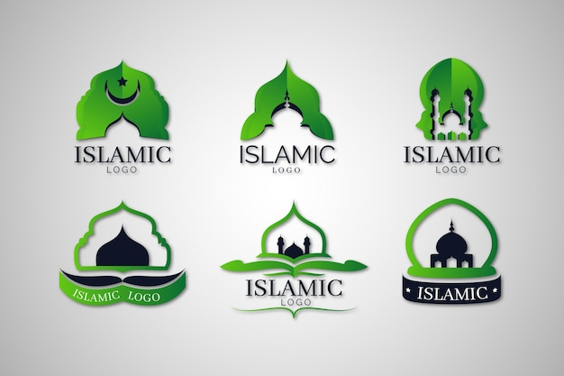 Conjunto de logotipo islâmico em duas cores
