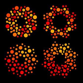 Conjunto de logotipo isolado de forma redonda e abstrato de cor laranja e vermelho com coleção de logotipo estilizado pontilhado de sol
