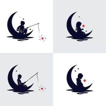 Conjunto de logotipo kids reach dreams com o símbolo da lua e logotipo reaching star