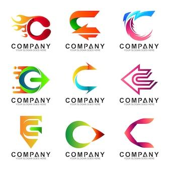 Conjunto de logotipo letra c