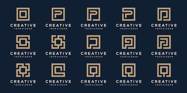 Conjunto de logotipo letras p e q com estilo quadrado. modelo