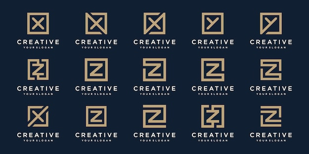 Conjunto de logotipo letras x, y e z com estilo quadrado. modelo