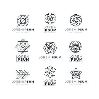 Conjunto de logotipo linear abstrato