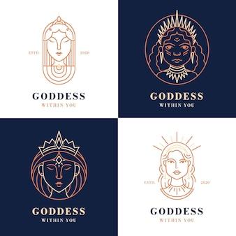 Conjunto de logotipo linear de deusa plana