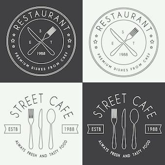Conjunto de logotipo linear de restaurante vintage