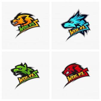 Conjunto de logotipo lobo profissional moderno para uma equipe de esporte. Ilustração em vetor logotipo lobo.