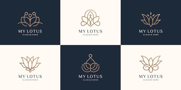 Conjunto de logotipo luxuoso da lotus
