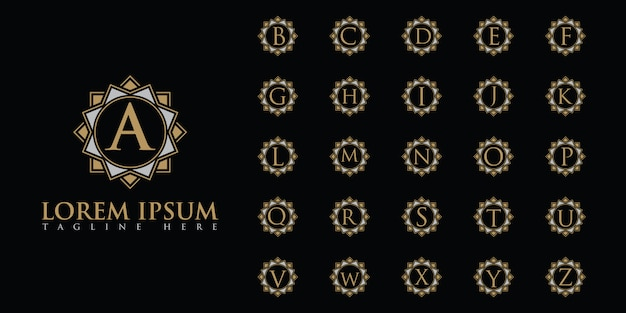 Conjunto de logotipo luxuoso letras
