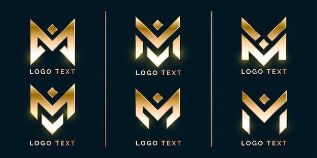 Conjunto de logotipo luxury abstract m