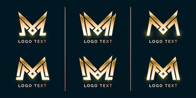 Conjunto de logotipo luxury modern m