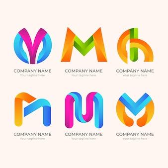 Conjunto de logotipo m detalhado criativo