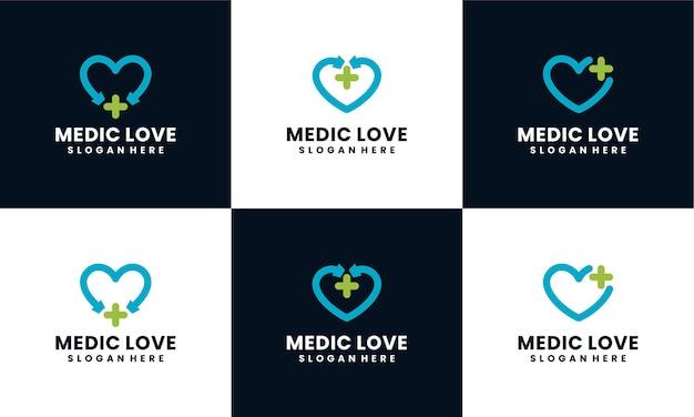 Conjunto de logotipo médico com modelo de design de conceito de forma de estetoscópio de amor Vetor Premium