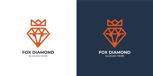 Conjunto de logotipo minimalista com design de diamante raposa