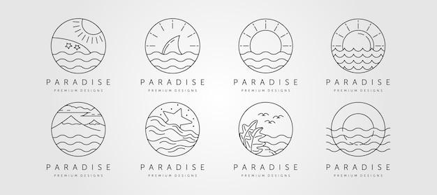 Conjunto de logotipo minimalista da arte da linha do oceano, paisagem do oceano