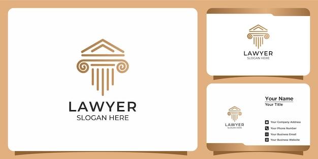 Conjunto de logotipo minimalista de advogado e cartão de visita