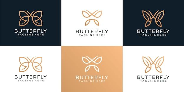 Conjunto de logotipo minimalista de borboleta dourada para decoração de ioga de spa