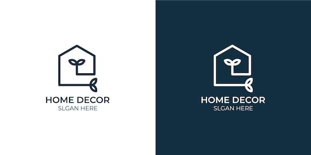 Conjunto de logotipo minimalista de decoração para casa