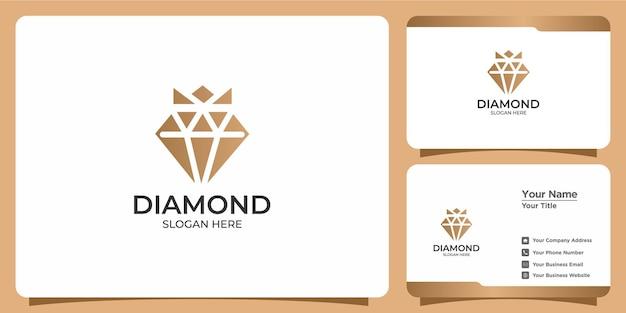 Conjunto de logotipo minimalista de design de diamante e cartão de visita