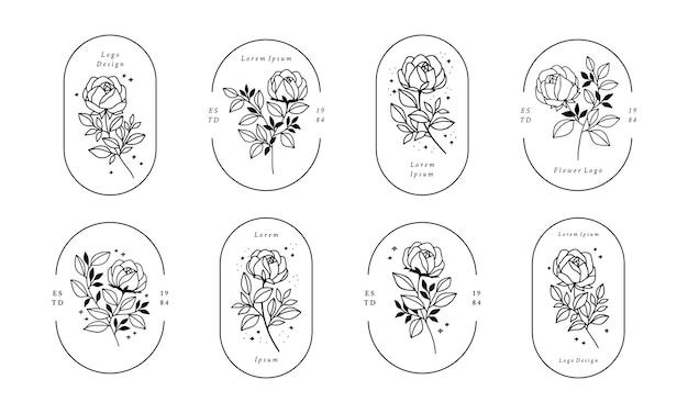 Conjunto de logotipo minimalista de flor rosa desenhado à mão