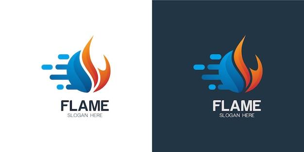 Conjunto de logotipo minimalista e elegante em chamas