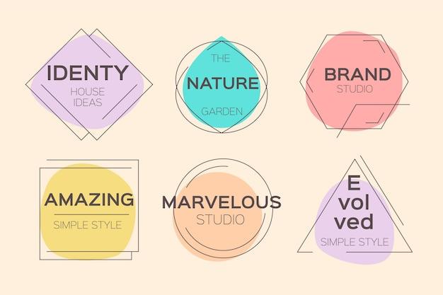 Conjunto de logotipo mínimo de cores pastel