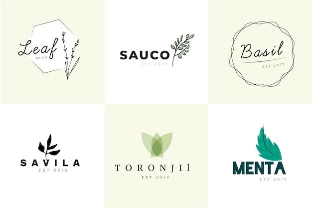 Conjunto de logotipo mínimo de negócios naturais
