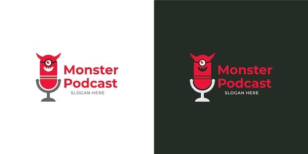 Conjunto de logotipo moderno de monstro de podcast