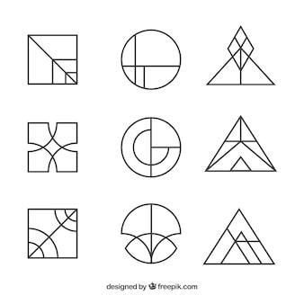 Conjunto de logotipo monoline simples criativo