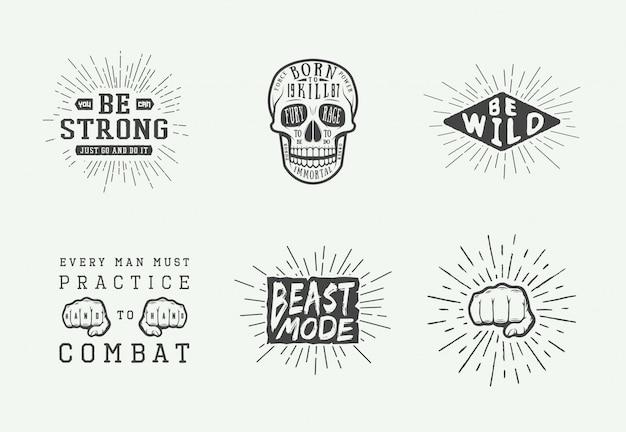 Conjunto de logotipo motivacional