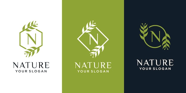 Conjunto de logotipo natural e orgânico