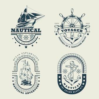 Conjunto de logotipo náutico monocromático vintage