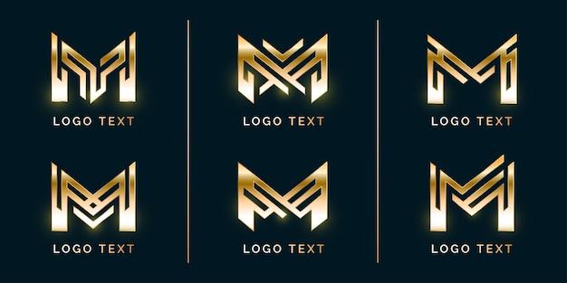 Conjunto de logotipo premium modern m