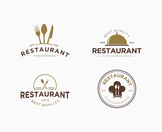 Conjunto de logotipo premium para restaurante