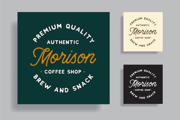Conjunto de logotipo premium vintage de cafeteria