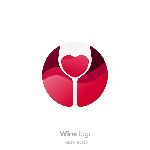 Conjunto de logotipo redondo com um copo de vinho. cápsula com líquido em movimento.