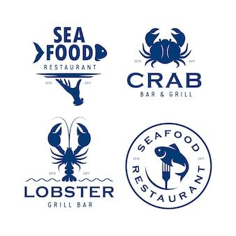 Conjunto de logotipo relacionados de frutos do mar