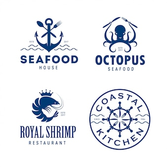 Conjunto de logotipo relacionados de frutos do mar