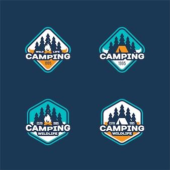 Conjunto de logotipo retrô de acampamento e aventura ao ar livre
