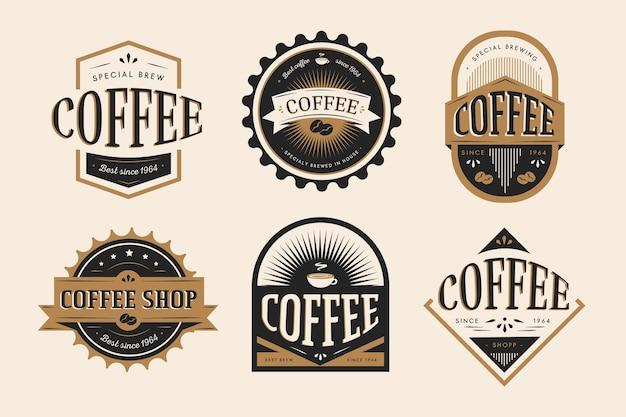 Conjunto de logotipo retrô de café Vetor Premium