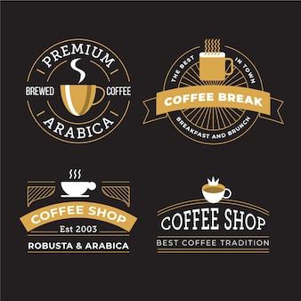 Conjunto de logotipo retrô de café