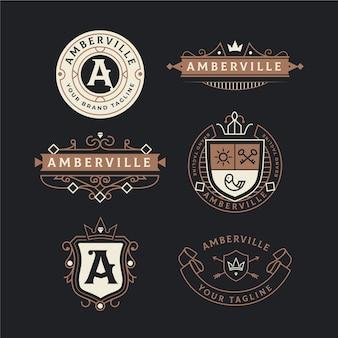 Conjunto de logotipo retrô de luxo modelo