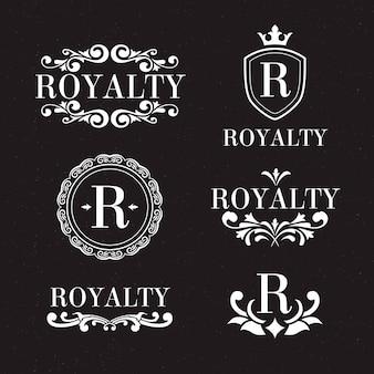 Conjunto de logotipo retrô de luxo