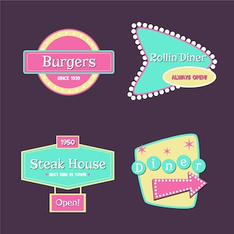 Conjunto de logotipo retrô de restaurante