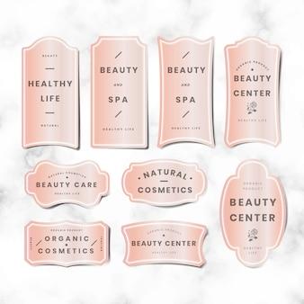 Conjunto de logotipo rosa pastel mínimo