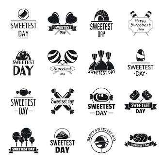 Conjunto de logotipo saboroso doce