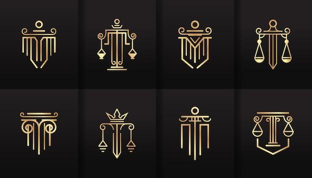 Conjunto de logotipo simples e elegante de escritório de advocacia